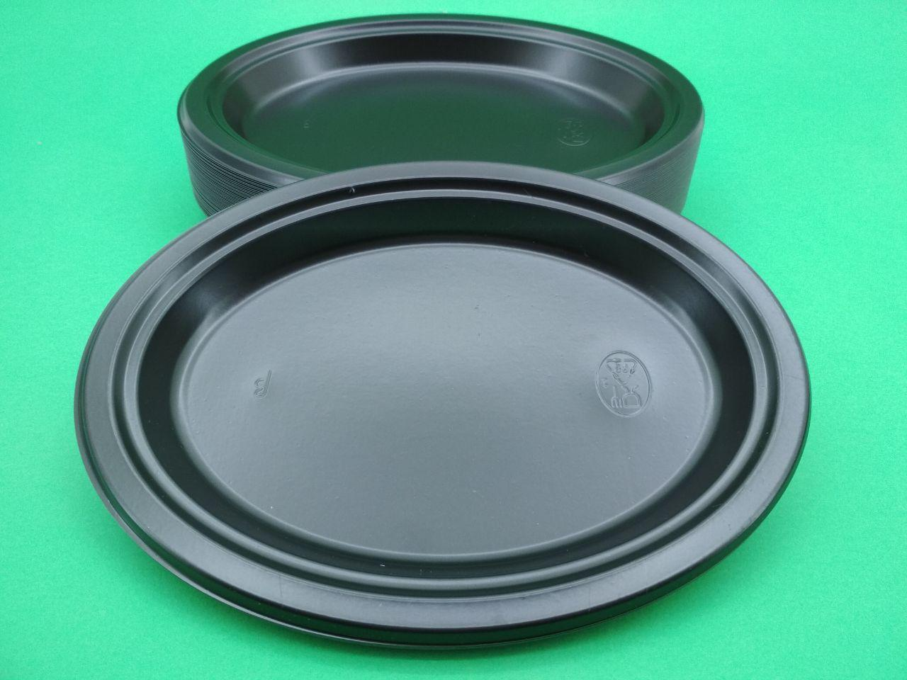 Тарілка овальна 310 mm Чорна (50шт)