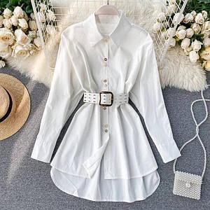 Удлиненная женская рубашка с поясом асимметричного кроя 42-46 р