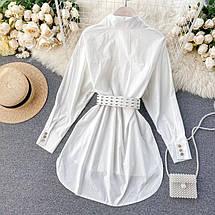 Удлиненная женская рубашка с поясом асимметричного кроя 42-46 р, фото 2