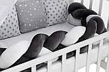Детская постель Babyroom Classic косичка-01  серо-белые звездочки, фото 2