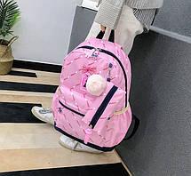 Стильный набор Рюкзак, сумка и пенал 3в1 с помпоном  для модных девушек, фото 3