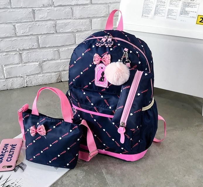Стильный набор Рюкзак, сумка и пенал 3в1 с помпоном  для модных девушек
