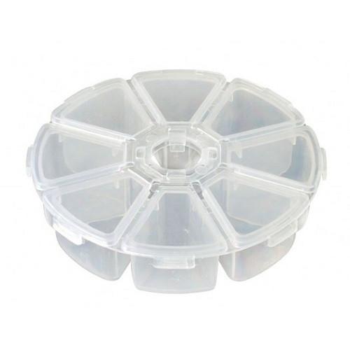 Коробка органайзер кейс для снастей бисера BTB  круглый 100х25 мм 8 ячеек