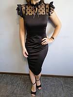 Платье женское черное по фигуре Fashiontema Размер 42-44