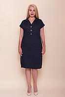 Жіноче плаття ЛЬОН темно синій великий розмір. Опт і роздріб. Розмір 52, 54, 56, 58, фото 1