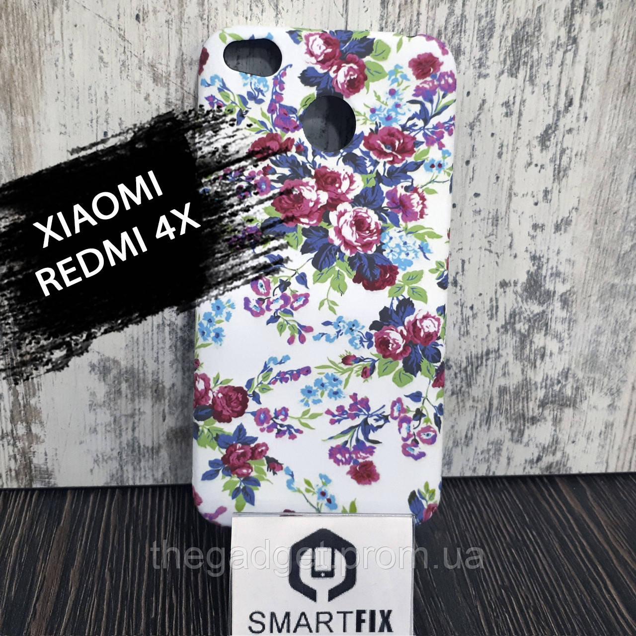 Чехол с рисунком для Xiaomi Redmi 4X Пионы на белом