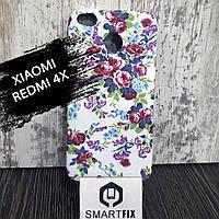 Чехол с рисунком для Xiaomi Redmi 4X Пионы на белом, фото 1