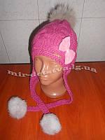 """Детские зимние шапки оптом. Шерстяная шапка-ушанка """"Бантик"""" р.48-50 см, 70% шерсть (бубоны - натуральный мех)"""