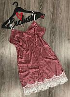 Велюровая сорочка с кружевом на 44-46, женские пеньюары.