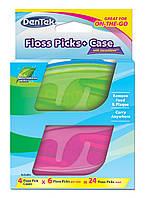 Флосс-зубочистки DenTek + Дорожный футляр: 4 футляра, 24 зубочистки, фото 1