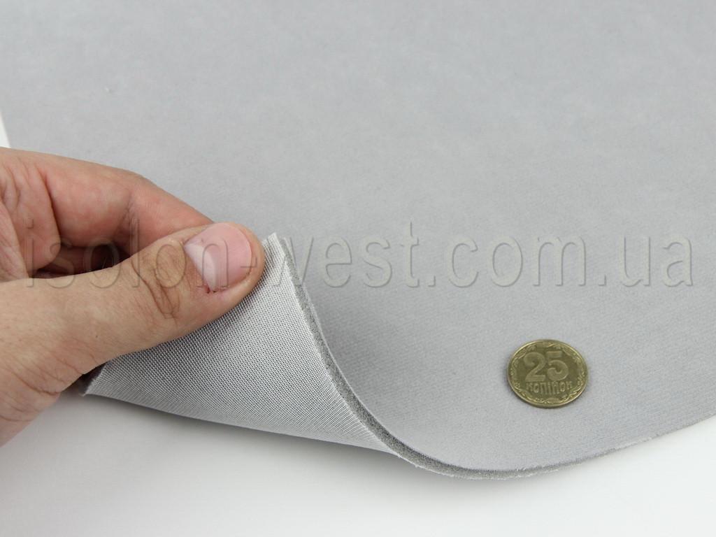 Ткань потолочная авто велюр светло-серый Micro 16397, на поролоне 3 мм с сеткой шир. 1.70м (Турция)