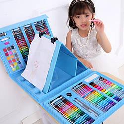 Набор для рисования и творчества в чемоданчике с мольбертом 208 предметов, Розовый и Голубой