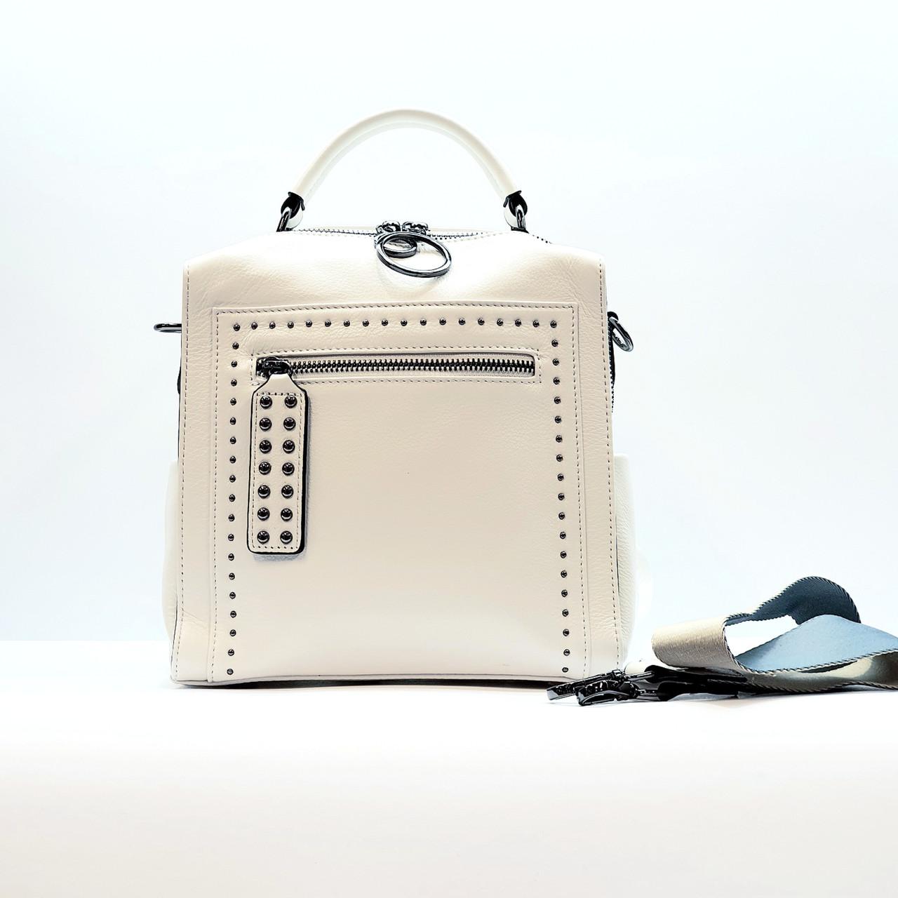Рюкзак-сумка маленький женский из натуральной кожи городской белый