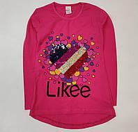 Детская кофта реглан хлопковый для девочки Likee малиновая 9-10 лет