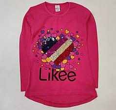 Детская кофта реглан хлопковый для девочки Likee малиновая 11-12 лет