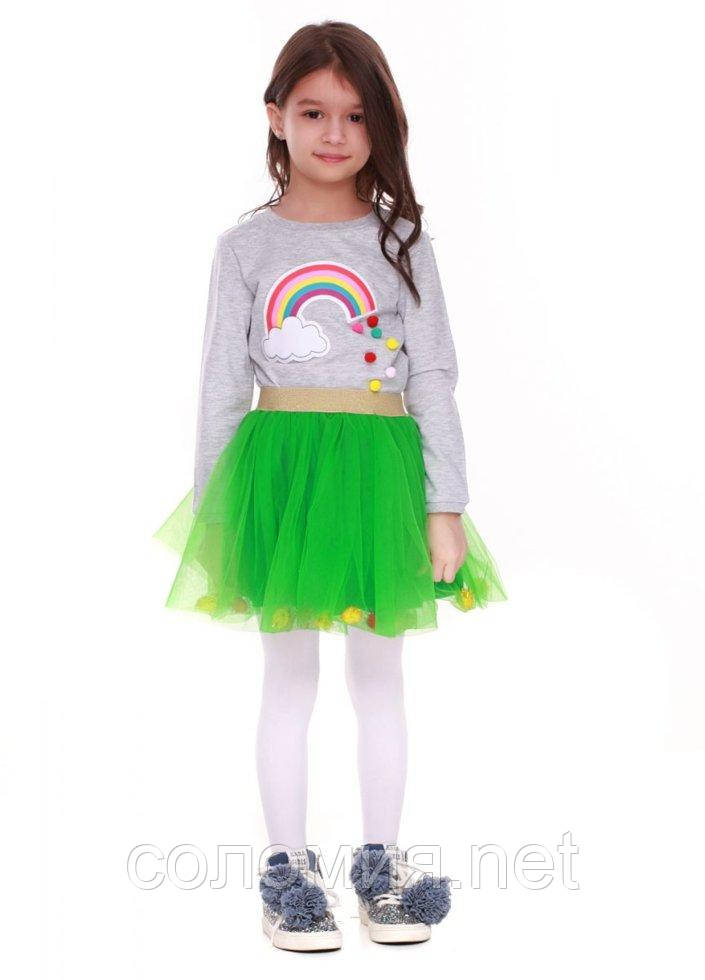 Юбка для девочек - G-18815W_зеленый 122-128