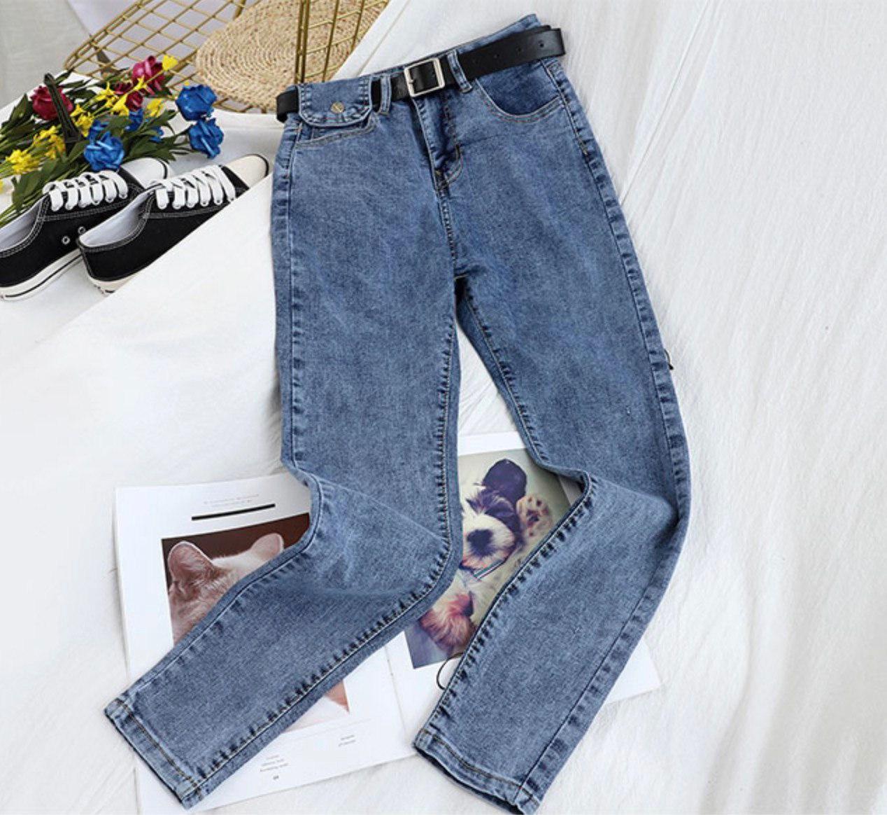 Женские стильные джинсы скинни высокой посадки с ремнем 42-46 р