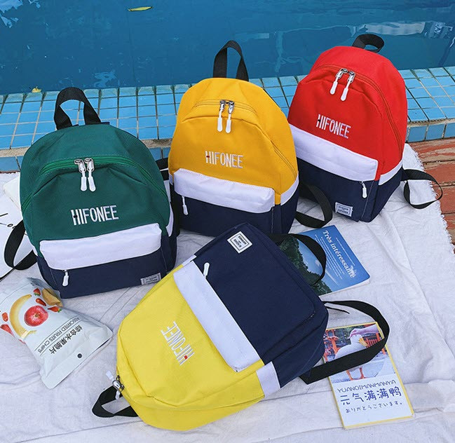 Стильные тканевые двухцветные рюкзаки для школы