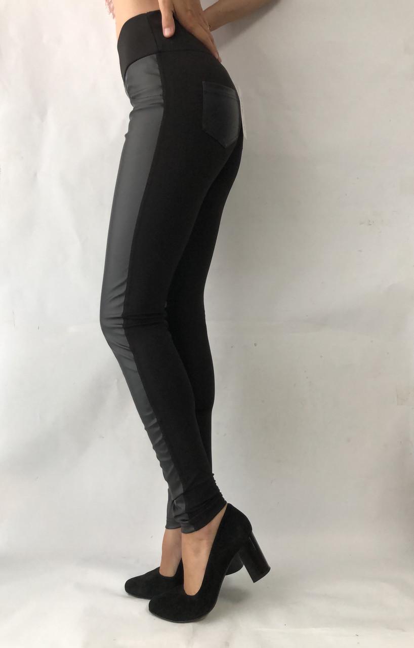 Черные женские лосины (дайвинг и кожа) №36