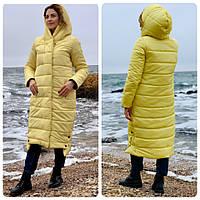 Куртка зимова ковдра блискавка + кнопки матова арт. M032 жовта / жовтого кольору / жовтий, фото 1