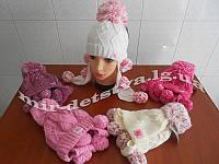 """Шерстяная зимняя шапка-ушанка для девочки """"Бубоны"""" р.50-52 см, 70% шерсть"""