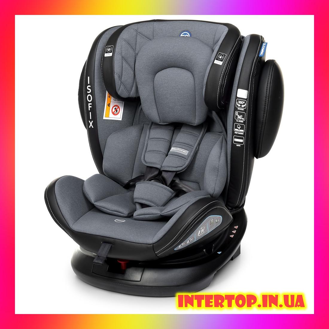 Детское автокресло с системой Isofix от рождения до 12 лет, El Camino Evolution 360º Royal Dark Gray темно-сер