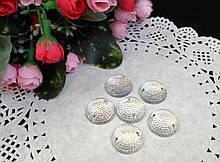 Пришивной декор, круглий, колір білий (срібло), 16мм