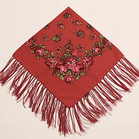 Хустка вовняна червона з квітами т80/148