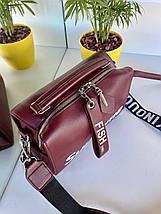 Жіноча сумка Supteme з широким ремінцем бордова ССД79, фото 2