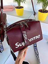 Жіноча сумка Supteme з широким ремінцем бордова ССД79, фото 3