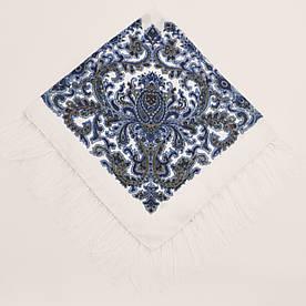 Хустка вовняна біла з блакитним візерунком т80/157