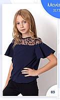 Блузка на 7-11 лет с декором кружево
