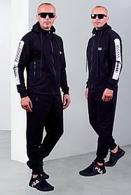 Мужской спортивный трикотажный костюм черного цвета