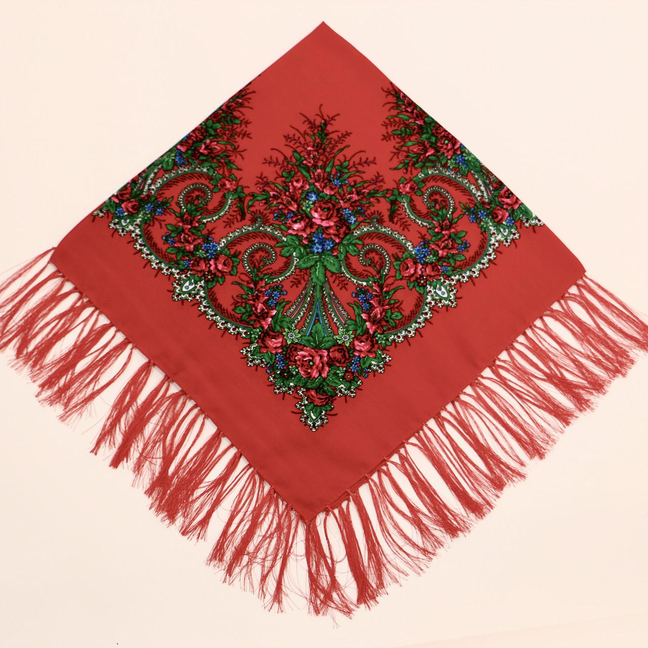 Хустка вовняна червона з візерунком  т80/168