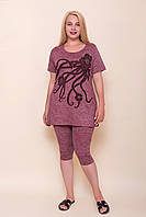 Жіночий костюм бордо двійка (туніка і легінси) великого розміру. Туреччина. Розміри 44\52, 46\54, 48\56, 50\58.
