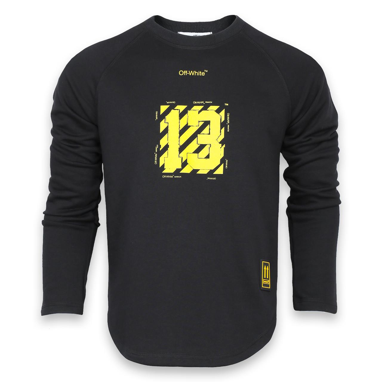 Свитшот мужской черный с желтым OFF-WHITE №13 Р-2 BLK S(Р) 19-503-201-001