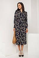 Осеннее платье-рубашка из тонкой летящей ткани на пуговицах по всей длине изделия, прямого силуэта длиной миди