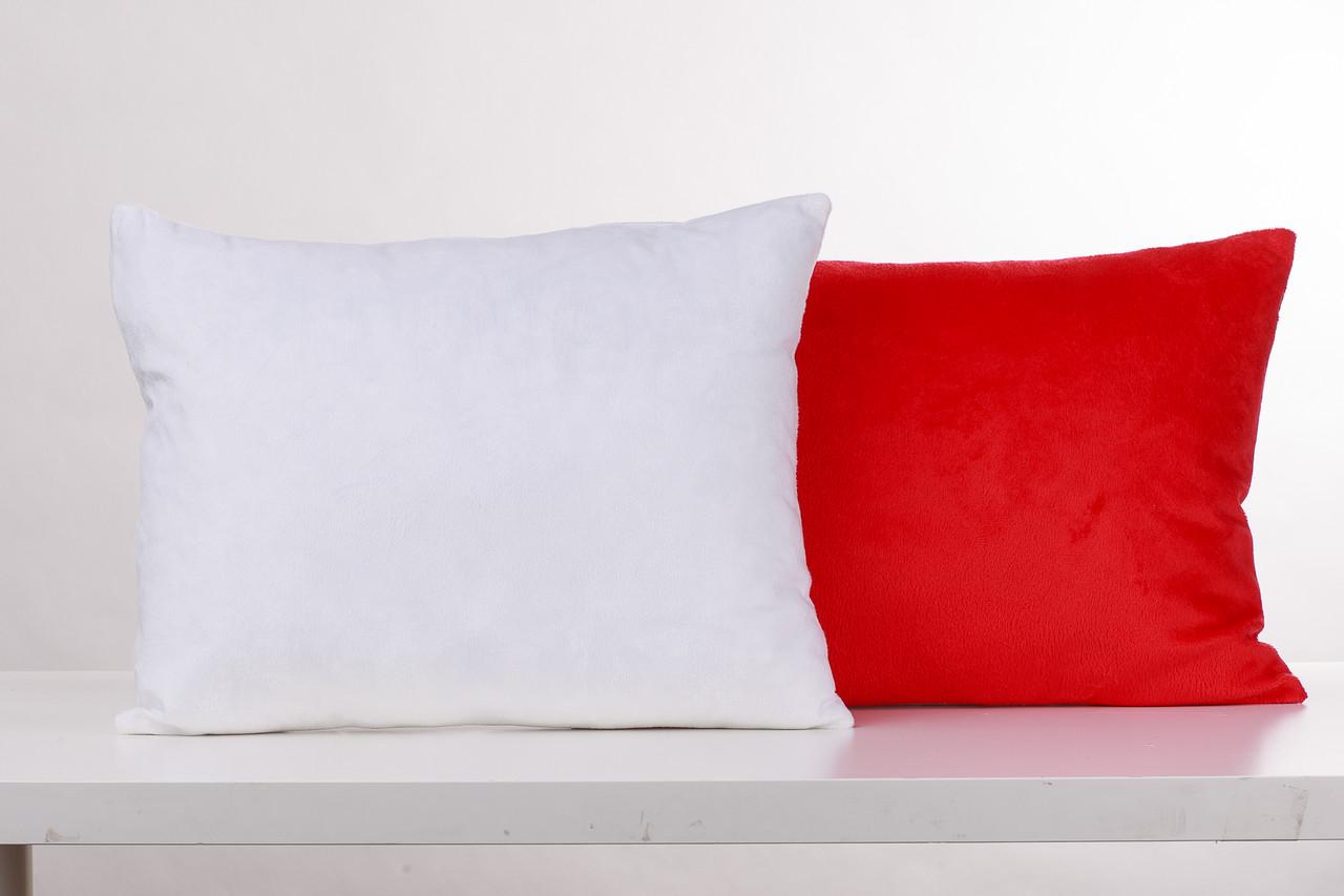 Подушка прямоугольник 35х45см. белый/ красный плюшевая для сублимации от производителя Украина