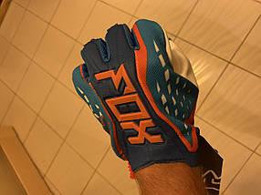 Кроссовые мото перчатки Fox для мото кросса сине-оранжевые