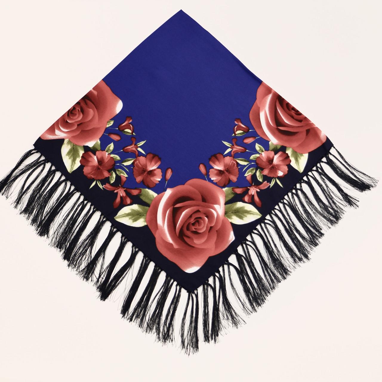 Хустка вовняна синя з червонимі квітами т80/194