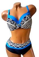Купальник  раздельный  женский для полных 50 - 58 Palmira черный с принтом голубой, фото 1