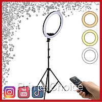 Кольцевая светодиодная LED лампа Ring для блогеров визажистов 36 см AL-360 с сенсорными кнопками и пультом
