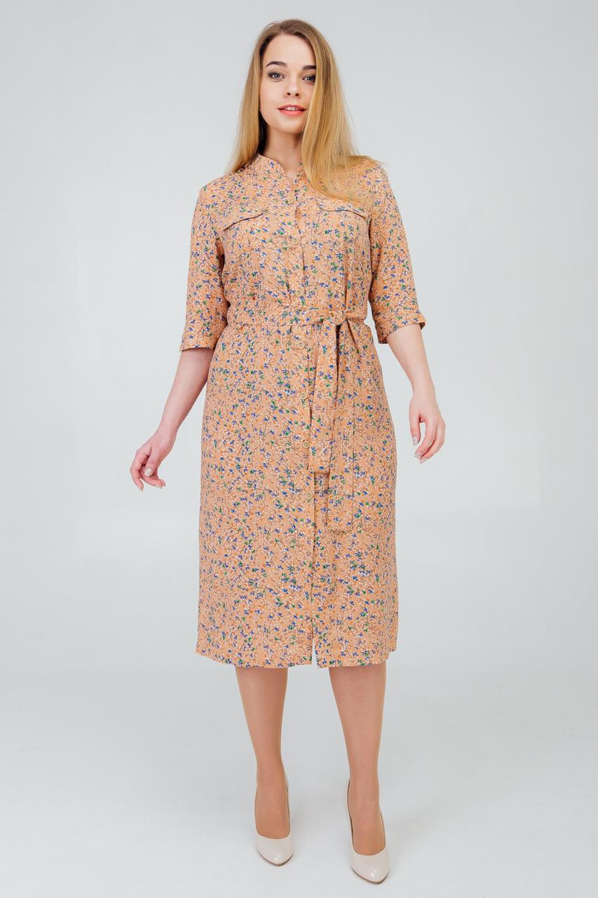Легкое женское платье на пуговицах с воротником стойка
