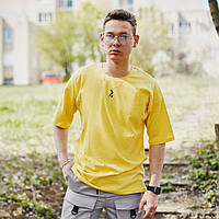 Футболка оверсайз базовая мужская Пушка Огонь Lindra желтая, фото 1