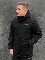 Куртка мужская демисезонная Nike (Найк) черная | куртка утепленная осенняя весенняя ТОП качества