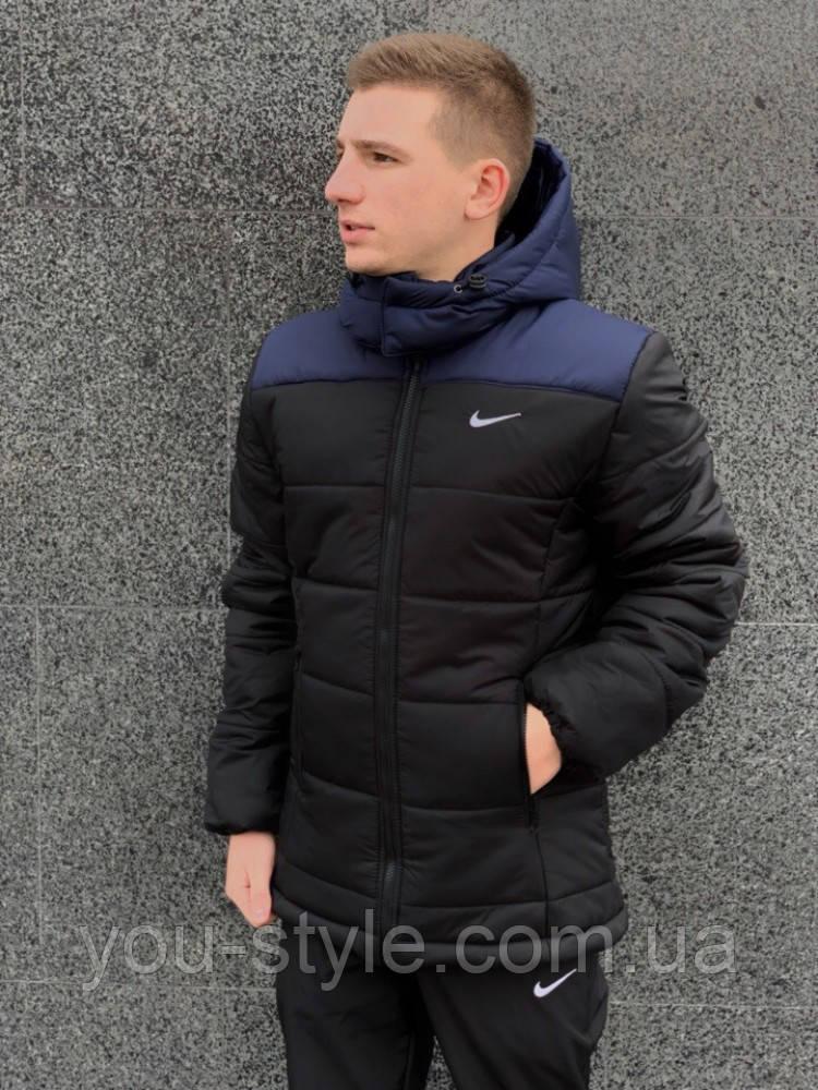 """Зимняя Куртка Nike """"Европейка"""" сине-черный"""