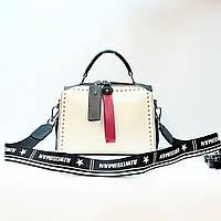 Женская маленькая сумка бело-черная