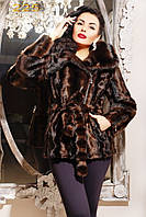 Молодежная шубка из эко-меха (под норку) с ассимитричным воротником и косой молнией.Артикул: 225