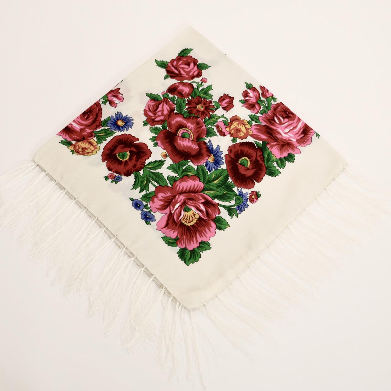 Хустка вовняна з гарними квітами т80/234