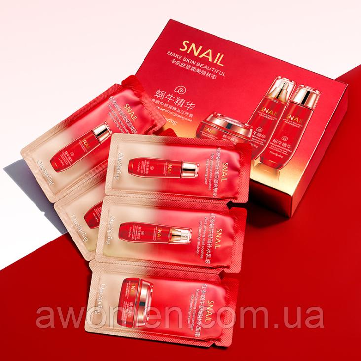 Трехэтапный уход для лица One Spring Ginseng Snail (тонер, эмульсия и крем для лица) 10 штук упаковка